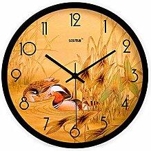 DIDADI Wall Clock Yuanyang wasser Abbildung kreative moderne chinesische Wohnzimmer Wanduhr mute Wanduhr Quarz Uhren 12.