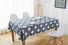 DIDIDD Continental retro blau karierte welle leinen tischdecken heimtextilien staub tuch schrank Weihnachtsschmuck,140X140cm