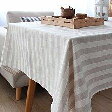 DIDIDD Moderne minimalistische gestreifte Leinen Tischdecken rechteckigen Tuch Heimtextilien Staub Tuch Schrank Weihnachtsschmuck,A,130X180cm