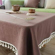 DIDIDD Washed Leinen Tischdecken einfach modern grau gefranst rechteckigen Tisch Schrank Staub Tuch Weihnachtsschmuck,A,130X130cm