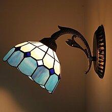 Die All-Match blaue Mittelmeer Warme Wind Wand Spiegel Lampe Nachttischlampe Wandleuchte 0823W-B Wohnzimmer Schlafzimmer Gang