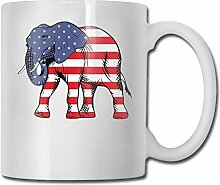 Die amerikanische Flagge Elephant Fashion Coffee