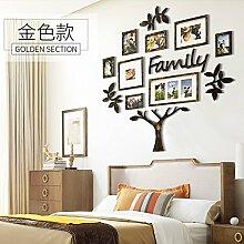 Die amerikanische retro Baum Foto Wand kreative Wand Foto wall Frame Wand home Wohnzimmer Sofa Hintergrund mit eingerichtet Gold farbigen Wänden.