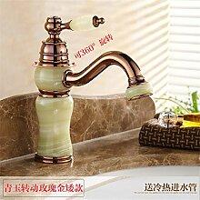 Die Badezimmer Continental natürliche Jade fein kupfer Rose Gold wc Waschbecken mit warmen und kalten den Hahn zu drehen, Cheong Wa - igitt Rose Gold niedrig (drehbar)