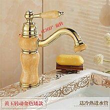 Die Badezimmer Continental natürliche Jade fein kupfer Rose Gold wc Waschbecken mit warmen und kalten den Hahn zu drehen, Wong Yuk - Zirkon gold Niedrig (drehbar)