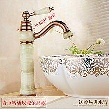 Die Badezimmer Continental natürliche Jade fein kupfer Rose Gold wc Waschbecken mit warmen und kalten den Hahn zu drehen, Cheong Wa - igitt Rose Gold hoch (drehbar)