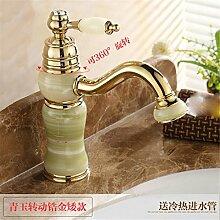 Die Badezimmer Continental natürliche Jade fein kupfer Rose Gold wc Waschbecken mit warmen und kalten gedreht werden kann und Hahn Safir zirkon Gold niedrig (drehbar)