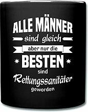 Die Besten Männer Sind Rettungssanitäter Tasse einfarbig von Spreadshirt®, Schwarz