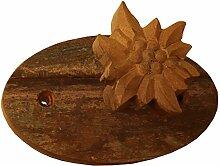 Die Bildhauern du Lac BR109 Garderobe Haken mit Edelweiss Holz alt 17 x 10 x 6 cm