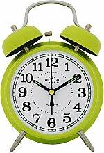 Die breguht Alarm Clock Retro Metall Heimtextilien Mute Lazy Student Kinder Schlafzimmer Nachtmodus der Uhr, Zitrone Gelb Weiß Paintmodern Dekoration, Classic, langlebig, Retro, einfache und simple Home Fashion Qualitätssicherung
