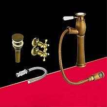 Die Europäische antike Hahn alle Kupfer Wasserhahn Waschtisch Armatur ziehen - Typ Wasserhahn im Waschbecken im Bad Armatur, Wasserhahn Pake