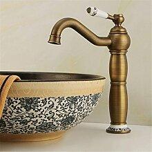 Die Europäische antike Hahn Waschbecken Wasserhahn auf der Plattform Waschbecken Wasserhahn alle Kupfer Wasserhahn Bambus Wasserhahn im Waschbecken im Bad Armatur, Wasserhahn