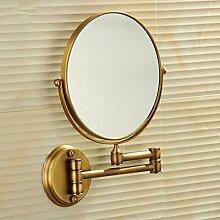 Die Europäische antike Schönheit Spiegel Wandspiegel doppelseitige Kosmetikspiegel WC Badezimmer Spiegel Teleskop Lupe-8-Zoll,Antike Farbe