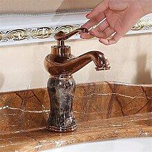 Die Europäische antike Wasserhahn Einloch Mischbatterie heißen und kalten Wasserhahn im Waschbecken Wasserhahn, Rose Gold