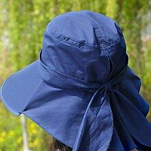 Die federkappe Kinder Sommer koreanischen Visier Sonnenschutz Hüte falten Radtouren UV-Strand, Stetson Strohhut tibetischen Blau