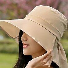 Die federkappe Kinder Sommer koreanischen Visier Sonnenschutz hüte Radtouren uv Stetson Strand Falten, Strohhut khaki
