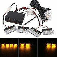 Die Glühbirne MZ 4 x 3 LED Auto Vorne Grill Polizei Warnleuchten Gelb Blinkende Wasserdichte Notfall Blitzlicht Lampe, DC 12 V, 4er Pack
