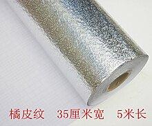 Die Küche Ölfangblech Ölfesten Hochtemperatur Isolierung Pad Sticker Rauch Gas Isolierte Aluminiumfolie Aluminiumfolie Cleaning Pad, Orange Schale, 35 Cm*5 M