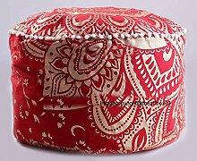 Die Kunst Box rot Gold Mandala Ottoman,