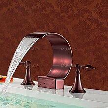 Die Kupfer Schwarz Becken Aus Bronze Heiße Und Kalte Tauchbecken Hände Rundes Badezimmer Armaturen