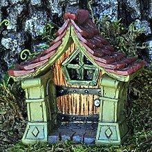 Die märchenhafte Miniatur-Tür aus Kupfer ist ein Zubehör für Ihren Garten