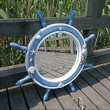 Die mediterrane Art blau Do alten Steuermann Spiegel Make-up Spiegel Bad Wanddekoration , large diameter 62cm