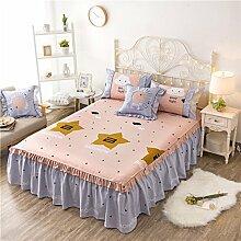 Die Neue Baumwolle Raffungen Solide Bett Auskleidungen Bett Prinzessin Stil Röcke Kissen Bettlaken,Pink-180*220