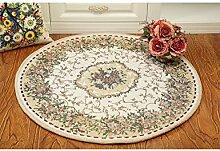 Die neue kreisförmige Pflanze Blumen Teppich Computer Schreibtisch Studie Teppich Europäischen Stil Bauernhaus Stil Jacquard-Teppich ( Farbe : C , größe : 80cm )