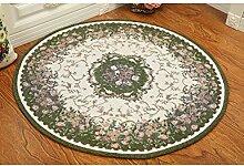Die neue kreisförmige Pflanze Blumen Teppich Computer Schreibtisch Studie Teppich Europäischen Stil Bauernhaus Stil Jacquard-Teppich ( Farbe : A , größe : 120cm )