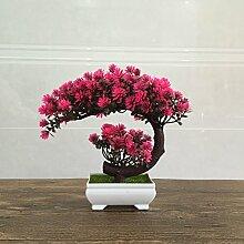 Die Neue Kunststoff Blume Bonsai Pflanzen Simulation Kleine Topfblumen Heimtextilien Dekoration, Rosa