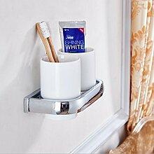 Die neuen Bad-Accessoires,Sucastle Einfache Verkupferung Zahnbürste Tasse Inhaber Zahnbürste Doppelbecher Becherhalter Antike europäischen Stil