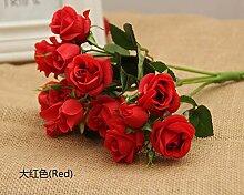 Die rose Braut holding Blumenstrauß simulation Heimtextilien dekoratives Rose romantische Hochzeit Geschenk Blumen, Rot ein Zweig