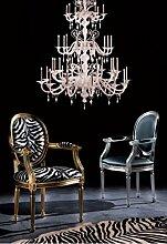 Die Seggiola–Stuhl Cleopatra 321/R–Sitzfläche: scay Metallic Silber–Gestell: Buche lackiert weiß