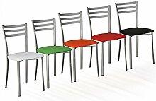 Die Seggiola–Stuhl Jody–Gestell: Metall satiniert–Sitzschale: Polypropylen Frisbee rot–Conf. 2Stück.
