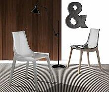 Die Seggiola–Stuhl Orbital Wood Gestell: Buche graphit–Sitzfläche: Acryl transparent–Conf. 2Stück.