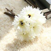 Die Simulation von Gerbera Blumen künstliche Seidentuch Heimtextilien Dekoration Wohnzimmer Tisch Dekoration Shop Dekoration, ein Bündel von Milch Weiß