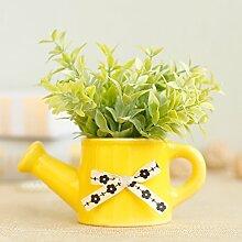 Die Teekanne Bonsai Blumen Ornamente Simulation Blume Schallwand Seidentuch Blüte Kleine Bonsai Pflanzen Heimtextilien Deko, Lobular Gras Gelb Teekanne