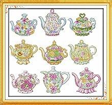 Die Teekanne Kreuzstich Linie Kit 14ct 11ct Blumen