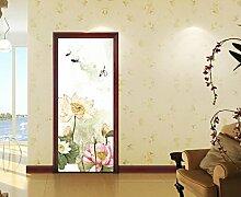 Die Tür gegen die hölzerne Tür Renovierung - Glastüren film Schiebetüren der Kunststoff pflanze Malerei Schlafzimmer kreative Selbstklebend, Lotus, groß