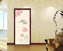 Die Tür gegen die hölzerne Tür Renovierung - Glastüren film Schiebetüren der Kunststoff pflanze Malerei Schlafzimmer kreative SelbstklebendDassGröße90 * 200,Große