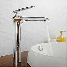 Die verchromten Kupfer angehoben Einloch single Badezimmerschrank Sitzbank Waschbecken Waschbecken wasserhahn Cu alle angehoben