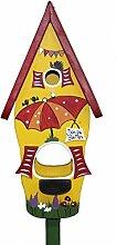 Die Vogelvilla 2in1 Set Vogelhaus Minivilla inkl. Stab Nistkasten Futterhaus Futterstelle , Farbe:Gelb