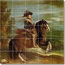 Diego Velázquez Pferde Badezimmer Fliesen Wand 7. 152,4x 152,4cm mit (25) 12x 12Keramik Fliesen.