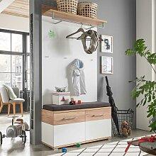 Dielenmöbel in Weiß Eiche kaufen (2-teilig)