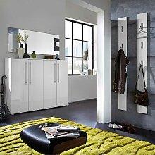 Dielenmöbel Set in Weiß Hochglanz komplett