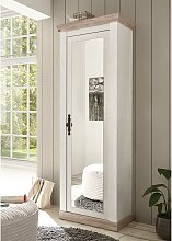 Dielenschrank mit Spiegeltür Weiß und Piniefarben