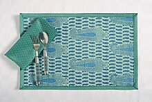 Digital gedruckt Faux Seide Tischsets und Servietten Set 4, Aqua Blau