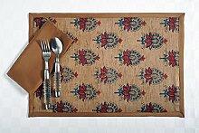 Digital gedruckt Faux Seide Tischsets und Servietten Set von 4, braun mit Maroon