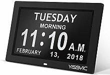 Digital Wecker, Yissvic Wanduhr mit Digitalkalender Elektronische Standuhr mit großem nicht abgekürztem Tag Monat für Senioren Alzheimer Patienten 8 Zoll Schwarz