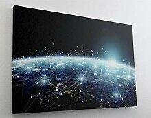 Digitale Weltvernetzung Leinwand Bild Wandbild